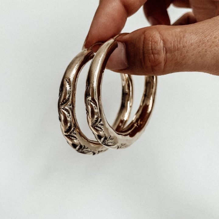 Golden Etched Hoops BRASS